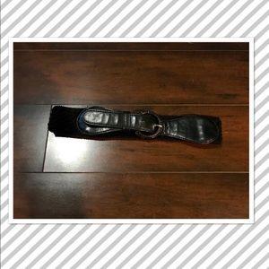 Accessories - Black Crocheted High Waist Stretch Belt